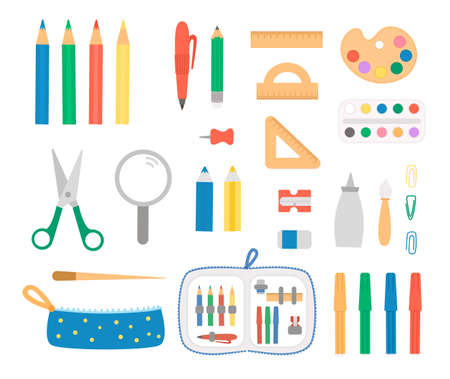 Set with pen and pencil icons. Vector colored stationery, writing materials, office, school or art supplies isolated on white background. Cartoon style scissors, pencil case, rulers