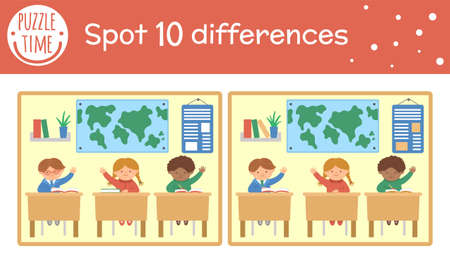 Back to school find differences game for children. Educational activity with schoolchildren sitting in classroom. Printable worksheet with cute funny smiling characters. Geography lesson scene