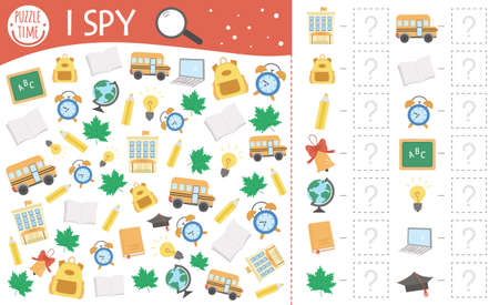 Back to school I spy game for kids. Searching and counting activity for preschool children with cute school objects. Funny autumn printable worksheet for kids. Simple lesson spotting puzzle.