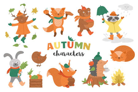 Set of vector autumn characters. Cute woodland animals collection. Fall season icons pack for prints, stickers. Funny forest illustration of hedgehog, fox, bird, deer, rabbit, bear, raccoon, squirrel.