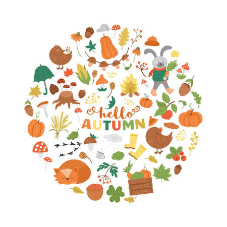 Vector round autumn frame with animals, plants, leaves, bell, pumpkins isolated on white background. Funny fall season design for banners, posters, invitations. Cute card template in circle shape