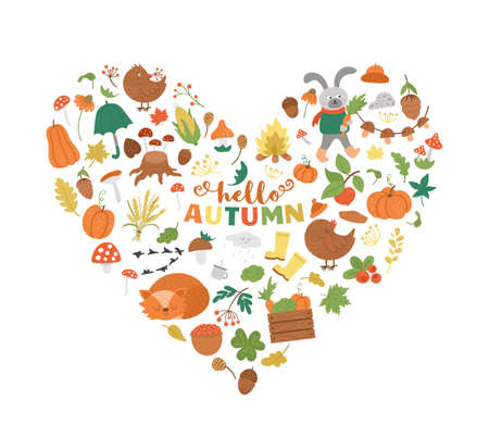 Vector autumn heart shaped frame with animals, plants, leaves, bell, pumpkins isolated on white background. Funny fall season design for banners, posters, invitations. Cute card template
