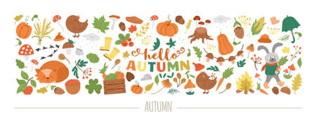 Vector horizontal autumn set with animals, plants, leaves, bell, pumpkins isolated on white background. Funny fall season design for banners, posters, invitations. Cute landscape card template 일러스트