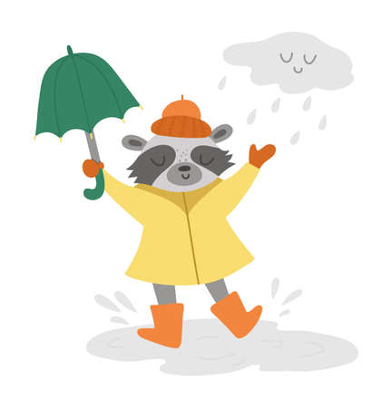 Cute raccoon jumping under the rain with umbrella. Vector autumn character isolated on white background. Fall season woodland animal icon for print, sticker, postcard. Funny forest illustration. Vettoriali