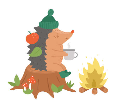 Cute hedgehog sitting on the stump with hot tea near the fire. Vector autumn character isolated on white background. Fall season woodland animal icon. Funny forest illustration. Vettoriali