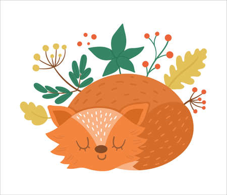 Cute composition with sleeping fox with. Vector autumn print design isolated on white background. Fall season woodland animal for sticker, postcard. Funny forest illustration.