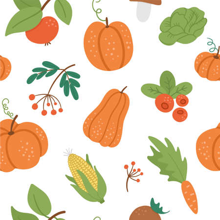 Vector seamless pattern with cute autumn vegetables, fruit and berry. Flat style repeating background with pumpkins, carrot, apple, cabbage, corn, cranberry, mushroom. Funny fall harvest texture