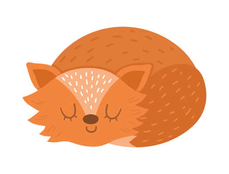 Cute sleeping fox. Vector autumn character isolated on white background. Fall season woodland animal icon for print, sticker, postcard. Funny forest illustration.