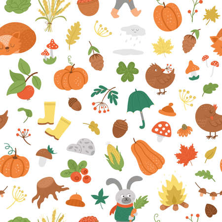 Vector autumn seamless pattern. Cute fall season repeating background for prints, stickers. Funny digital paper with forest animals, pumpkins, mushrooms, leaves, weather elements, harvest.