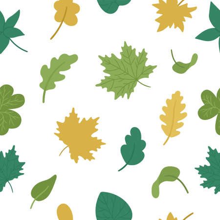 Vector seamless pattern with cute autumn leaves. Flat style repeat background with fall greenery. Funny falling maple, oak, chestnut leaf texture on white background Vettoriali