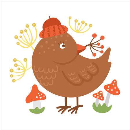 Cute composition with bird, berries and mushrooms. Vector autumn print design isolated on white background. Fall season woodland animal for sticker, postcard. Funny forest illustration. Vettoriali