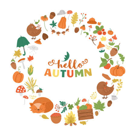 Vector round autumn frame with animals, plants, leaves, bell, pumpkins isolated on white background. Funny fall season wreath design for banners, posters, invitations. Cute card template 일러스트