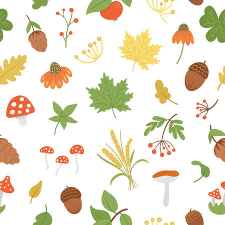 Vector seamless pattern with cute autumn herbs, plants, flowers, berries. Flat style repeat background with leaves, apple, acorns, cones. Funny fall greenery texture on white background