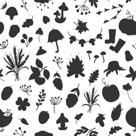 Vector seamless pattern with autumn silhouettes. Cute black and white fall season repeat background. Funny texture with shadows of vegetables, plants, pumpkins, mushrooms, leaves, birds