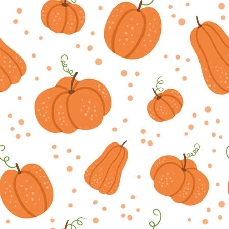 Vector seamless pattern with cute pumpkins. Autumn vegetables digital paper. Flat style orange squash ornament. Funny veggie texture on white background Vettoriali