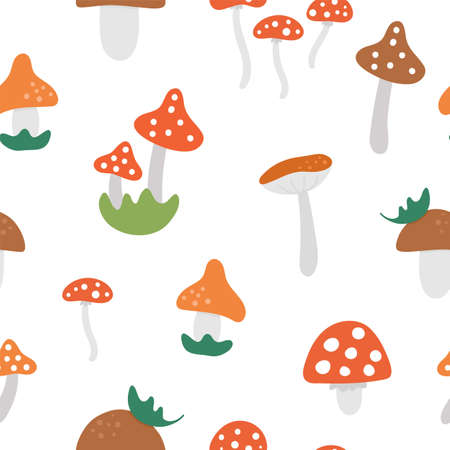 Vector seamless pattern with cute mushrooms. Autumn plants repeating background. Flat style death caps ornament. Funny toadstool texture on white background
