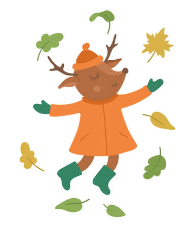 Cute deer jumping under falling leaves. Vector autumn character isolated on white background. Fall season woodland animal icon for print, sticker, postcard. Funny forest illustration.