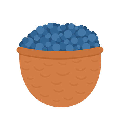 Vector cute basket with blueberry. Autumn woodland blue berry. Funny flat style illustration isolated on white background. Forest food icon. Fall season harvest concept
