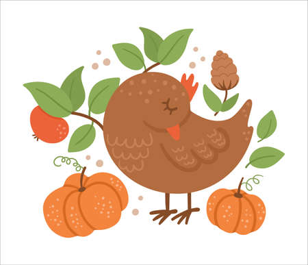 Cute composition with sleeping bird and pumpkins. Vector autumn print design isolated on white background. Fall season woodland animal for sticker, postcard. Funny forest illustration. Vettoriali