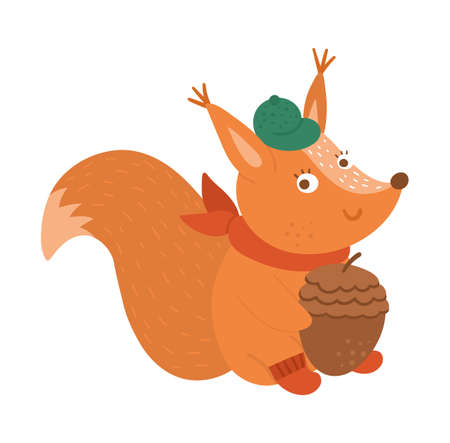 Cute squirrel with acorn with cap and scarf. Vector autumn character isolated on white background. Fall season woodland animal icon for print, sticker, postcard. Funny forest illustration.