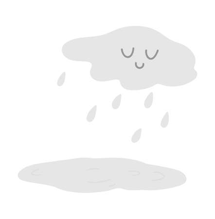 Cute smiling cloud with rain drops and puddle. Vector autumn weather character isolated on white background. Fall season kawaii icon for print, sticker, postcard.