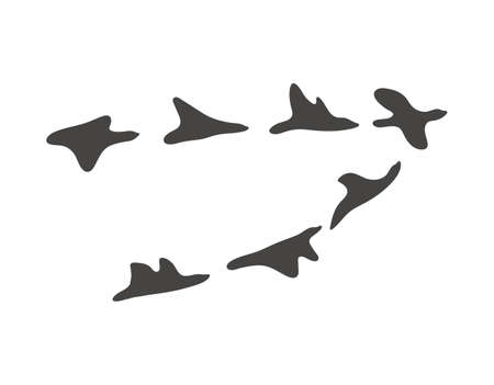Vector migrant birds. Black and white flock of birds moving away to hot countries. Autumn season silhouette illustration isolated on white background. Vettoriali