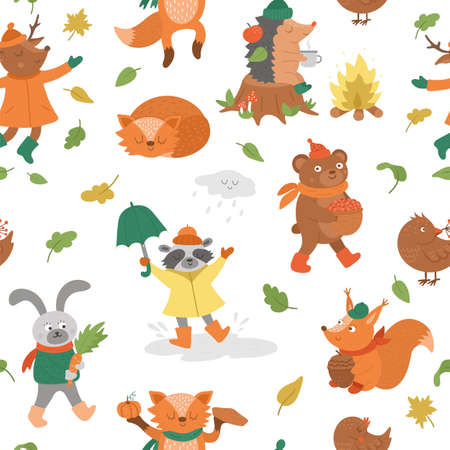 Seamless pattern with vector autumn characters. Cute woodland animals repeat background. Fall season texture. Funny forest print with hedgehog, fox, bird, deer, rabbit, bear, squirrel.