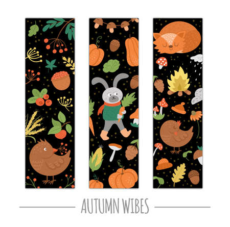 Vector set of autumn bookmarks with animals, plants, leaves, bell, pumpkins isolated on white background. Funny fall season vertical cards design. Cute stationery template 일러스트