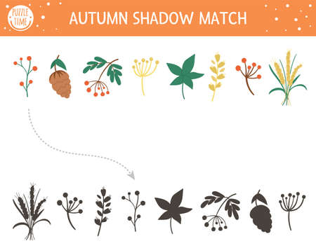 Autumn shadow matching activity for children. Fall season puzzle with cute plants. Simple educational game for kids with leaf, berries, cone. Find the correct silhouette printable worksheet.