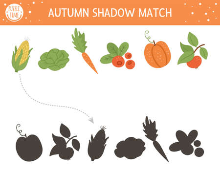 Autumn shadow matching activity for children. Fall season puzzle with cute vegetables. Simple educational game for kids with harvest. Find the correct silhouette printable worksheet.