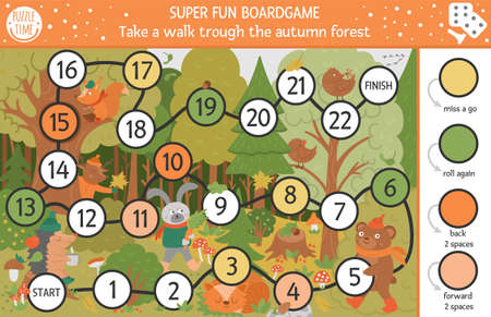 Autumn board game for children with cute woodland animals. Educational boardgame with bear, hare, fox. Take a walk through the forest activity. Fall season or thanksgiving printable worksheet.