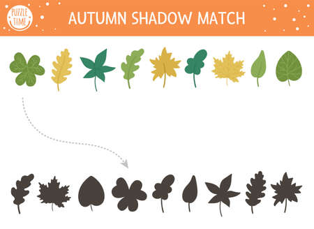 Autumn shadow matching activity for children. Fall season puzzle with cute plants. Simple educational game for kids with leaves. Find the correct silhouette printable worksheet.