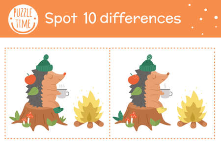 Autumn find differences game for children. Fall season educational activity with hedgehog sitting in a stump near the fire. Printable worksheet with funny smiling animal. Cute forest scene