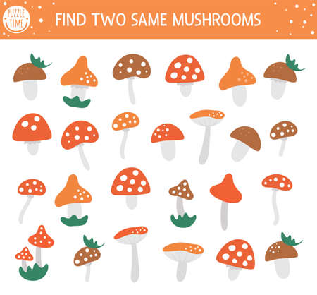 Find two same mushrooms. Autumn matching activity for children. Funny educational fall season logical quiz worksheet for kids. Simple printable game with forest plants