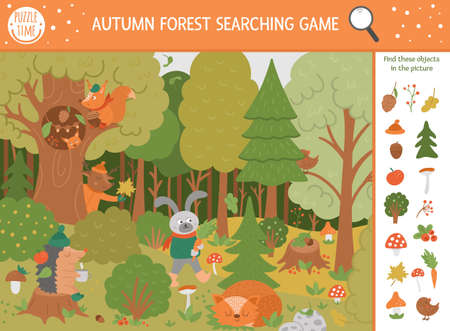 Vector autumn searching game with cute woodland animals. Find hidden objects in the forest. Simple fun educational fall season printable activity for kids with mushrooms, berries, plants Vettoriali