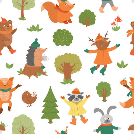 Seamless pattern with vector autumn characters. Cute woodland animals repeat background. Fall season texture. Funny forest print with hedgehog, fox, bird, deer, rabbit, bear, squirrel, tree. Vettoriali