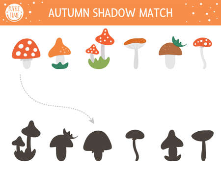 Autumn shadow matching activity for children. Fall season puzzle with cute mushrooms. Simple educational game for kids. Find the correct silhouette printable worksheet. Vettoriali