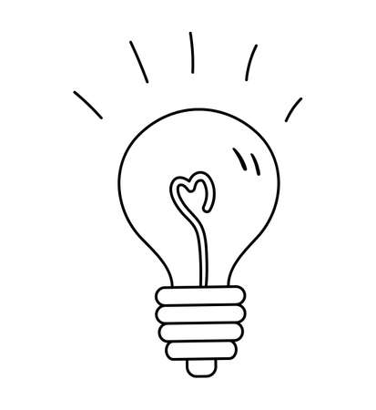 Vector black and white light bulb icon. Back to school educational clipart. Cute outline illustration. Education, clever mind or business idea linear art concept