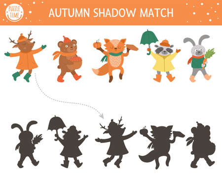 Autumn shadow matching activity for children. Fall season puzzle with cute animals in hats, scarves, boots. Simple educational game for kids. Find the correct silhouette printable worksheet.