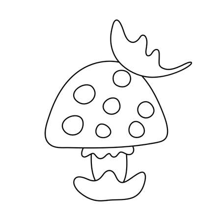 Vector cute black and white mushroom. Autumn line art plant. Funny contour death cap or toadstool illustration isolated on white background Vettoriali