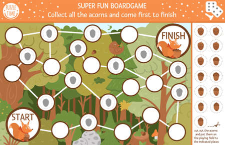 Autumn board game and cut and glue for children with cute woodland animal. Educational boardgame with funny squirrel. Collect all the acorns and come first to finish. Fall season printable worksheet.