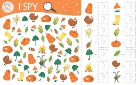 Autumn I spy game for kids. Searching and counting activity for preschool children with cute fall season objects. Funny printable worksheet for kids. Simple thanksgiving spotting puzzle. Vektorové ilustrace