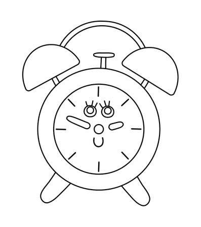 Vector black and white alarm clock icon. Back to school educational clipart. Cute outline illustration. Learning, education, morning or timing linear art concept