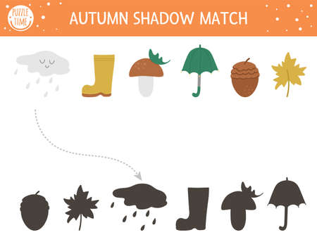 Autumn shadow matching activity for children. Fall season puzzle with cute objects. Simple educational game for kids with umbrella, cloud, leaf. Find the correct silhouette printable worksheet. Vettoriali