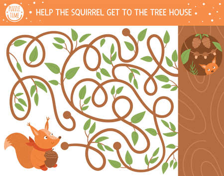 Autumn maze for children. Preschool printable educational activity. Funny fall season puzzle with cute animal. Help the squirrel get to the tree house. Forest game for kids.