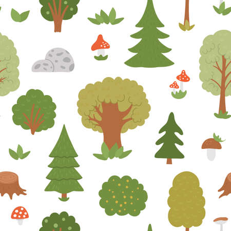 Vector seamless pattern with trees, plants, shrubs, bushes, mushrooms. Flat autumn forest repeating background. Cute digital paper with woodland plants