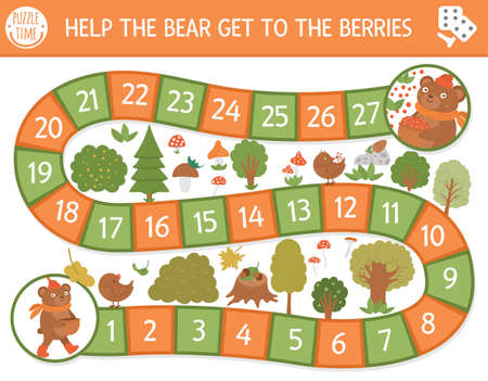 Autumn board game for children with cute woodland animal. Educational boardgame with teddy. Help the bear get to the berries activity. Fall season or thanksgiving printable worksheet. Vettoriali