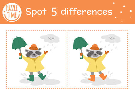Autumn find differences game for children. Fall season educational activity with raccoon with umbrella under the rain. Printable worksheet with funny smiling animal. Cute forest scene