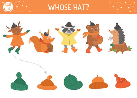 Autumn shadow matching activity for children. Fall season puzzle with cute animals. Simple whose hat educational game for kids. Find the correct silhouette printable worksheet.