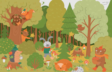 Vector autumn forest background with cute animals, leaves, trees, mushrooms. Funny woodland scene with bear, squirrel, sleeping fox and plants. Flat fall illustration for children.